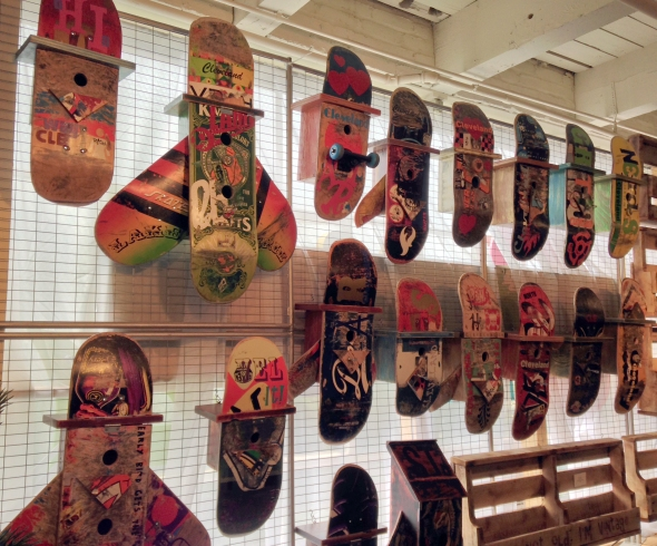 birdhouse, skateboard, art