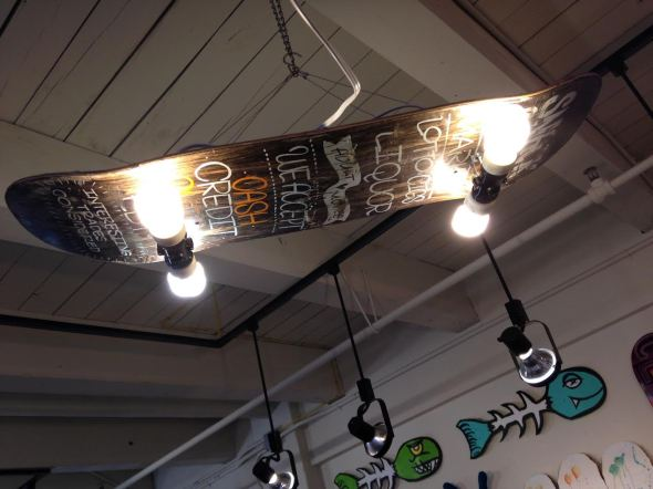 skateboard, art, light